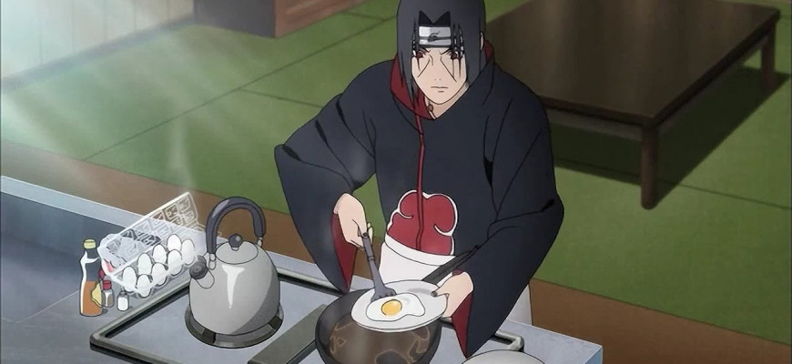 В какой серии Итачи готовит яичницу
