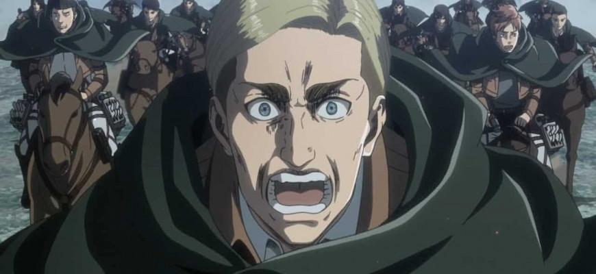 """Смерть командира Эрвина в аниме """"Атака Титанов""""."""